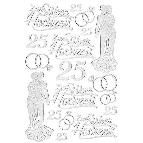 ticker Deluxe, zur Hochzeit, Verschiedene Hochzeitsmotive, erhabene Aufkleber, Bogengröße: 21 x 30 cm (Silberhochzeit) ()
