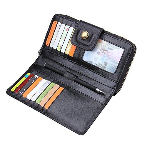 Contacts Herren Damen groß Kapazität Luxus echtes Leder Geldbörsen mit Reißverschluss-Tasche schwarzer Kaffee dunkelbraun