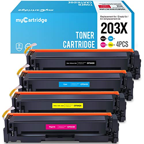 MyCartridge Kompatibel für HP Color Laserjet Pro MFP M281fdw M281fdn M280nw M254nw M254dw für HP 203X 203A CF540X-CF543X (Schwarz/Cyan/Magenta/Gelb) -