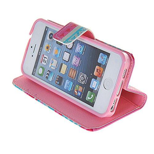 Coque Iphone 5/5s, coolke [Cartoon Motif] superbe peinture Étui portefeuille à rabat à rabat pour Apple iPhone 5/5S, 002, Apple iPhone 5 / 5S 005
