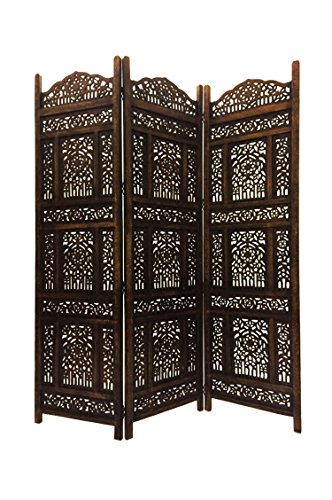 Orientalischer Paravent Raumteiler aus Holz Abhinava 150 x 180cm hoch in Braun | Indischer Trennwand als Raumtrenner oder Dekoration im Zimmer oder Sichtschutz im Garten, Terrasse oder Balkon