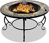 Centurion Supports Fireology Palanga Luxe Jardin et Patio Brasero, Brasero, Table Basse, Barbecue et Seau à Glace avec Ardoise carrelage