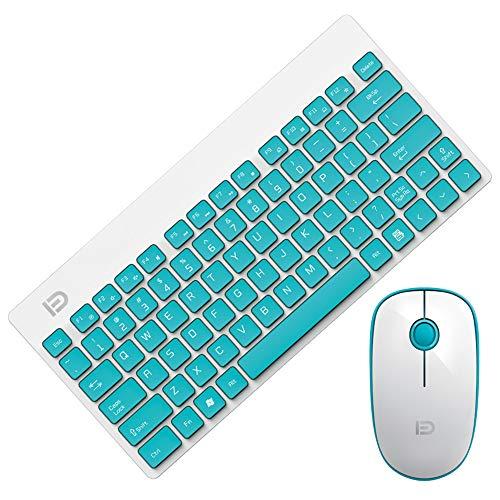 Kabellose Tastatur und Maus, 2,4 GHz Compact Whisper Ziemlich Tastatur und Maus Combo mit Nano-USB-Empfänger für, Laptop, PC, Notebook (Farbe : Green) Combo Green Compact