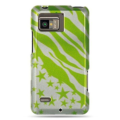 Verstärkter Kunststoff Phone Design Schutzhülle Grün Zebra Sternen für Motorola Droid Bionic