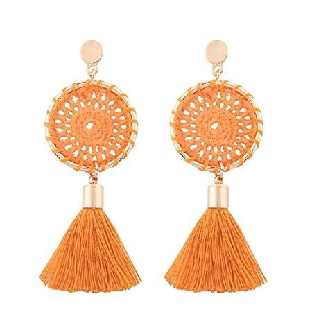 SetMei Fashion Vintage Frauen Boho Bohemian Ohrringe Lange Quaste Fransen Baumeln Ohrringe (schwarz)