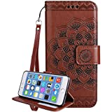 "Iphone 7 Plus Coque silicone, Iphone 7 Plus Accessories, Coque Iphone 7 Plus silicone, Nnopbeclik® Mode Fine Folio Wallet/Portefeuille en Bonne Qualité PU Cuir Housse (5.5 Pouce) ""Datura"" fleur de Gaufrage Style Motif + Bande de Poignet Bookstyle Flip Case Intérieur en Silicone étui de Protection ""NOT FOR IPHONE 7 4.7"" - [Marron]"