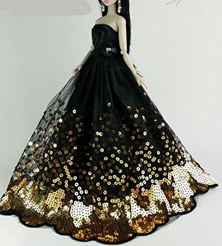 Chelsea-zubehör-set (BU-02 Schöne und modische handgefertigte elegante schöne Hochzeit Abend-Partei-Kleid für Barbie Puppe(Puppen nicht im Lieferumfang enthalten) (schwarz 4))