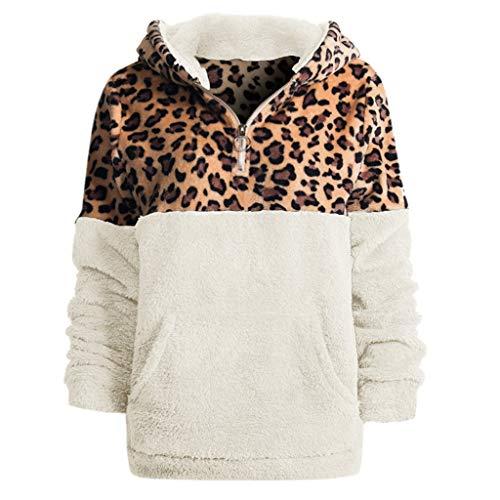 Darringls Sudadera para Mujer, Suéter Sudadera con Capucha para Mujer Abrigo Chaqueta Jerseys Impresos de Manga Larga Sudaderas Casual Lady Tops Estampado de Leopardo (Blanco, S)