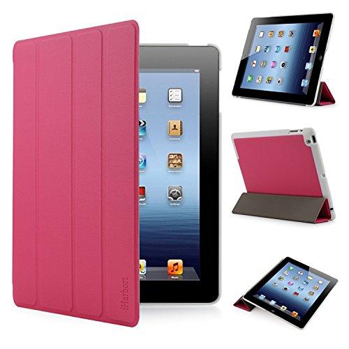 Apple Hot 2 Pink Fall Ipad (iHarbort® Apple iPad 4 /iPad 3 /iPad 2 Hülle - Ultra Slim Leder Tasche Hülle Etui Schutzhülle Für Apple iPad 4 iPad 3 iPad 2 Case Holder mit automatischer Weckfunktion (hot pink))