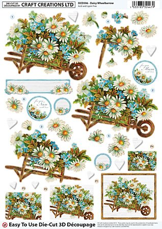 Craft Creations Die - 3D-Decoupage DCD596-Schubkarre, viktorianischer Stil, Gänseblümchen, Blume/Gänseblümchen, A4, 210 x 297 mm, Step By Step (,)