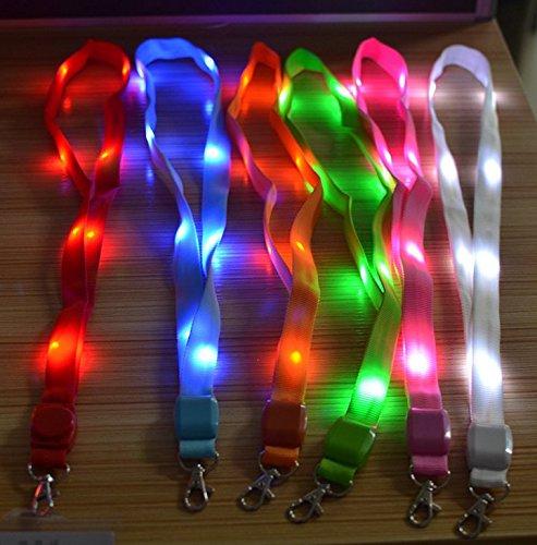 (itscominghome LED Light Up Umhängeband Band Lanyard Schlüsselanhänger ID Abzeichen hängende Spitze Seil rot)