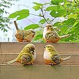 Sculture decorative da giardino in resina con animali, uccellini, 4 pezzi