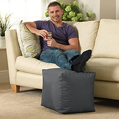 BAR B CUBE Beanbag Stool SLATE GREY - Outdoor & Indoor Use - Waterproof Bean Bags produced by Bean Bag Bazaar® - quick delivery from UK.