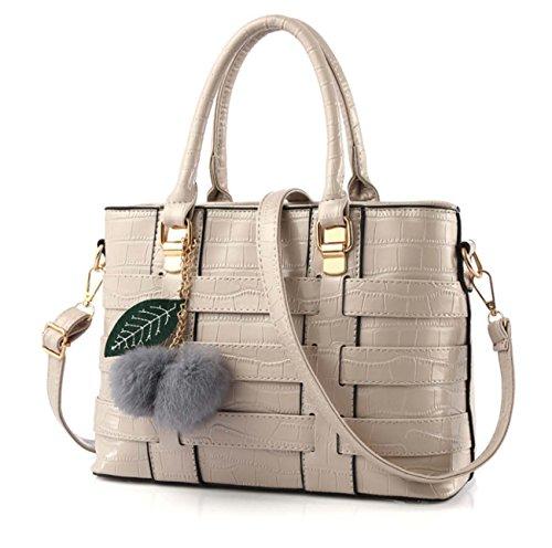 Sacchetto di spalla di modo del sacchetto di spalla di modo della borsa di stile delle signore e peluche e fogli di peluche sei colori Materiale opzionale dell'unità di elaborazione Light Gray