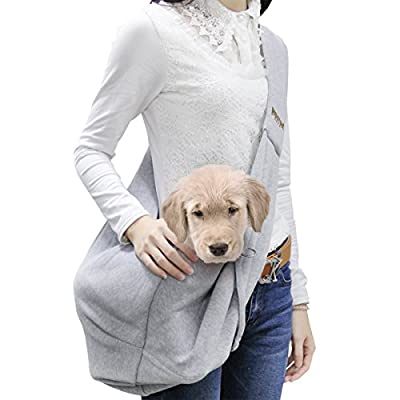 Poppypet Shoulder Carry Handbag for Pets, Hands-free Pet Foldable Travel Carrier Bag, Sling Shoulder Bag for Small Dog Cat Rabbit Guinea Pig, Double-sided Pouch Grey