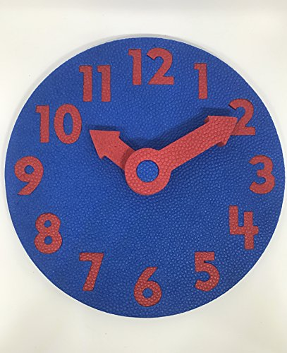 EduToys - Educational Time Learning Big Soft Clock for Kids Children - Size = 7 inches (18 cms) (Blue+Red)