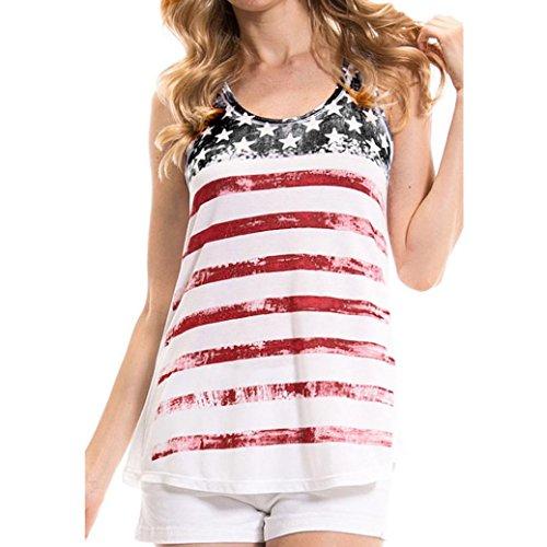 Hemd damen Kolylong® Frauen V-Ausschnitt Amerikanische Flagge gedruckt Sleeveless Bluse Sommer lose T-Shirt Sportbluse tank tops (Weiß, L) (Top Gedruckt Lace)