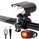 QITAO® Lumière de vélo, Lampe de vélo, Lampe-Torche sécuritaire, USB-Rechargeable 2400LM, lumière Superbe imperméable à l'avance de LED et lumière de Queue pour Escalade, Camping, Cyclisme etc.