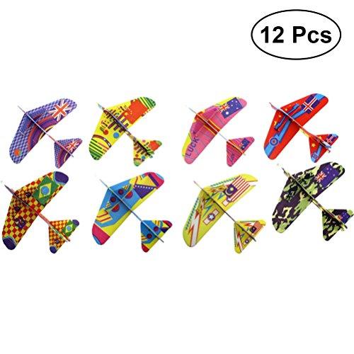 YeahiBaby Segelflugzeug Gleitflugzeuge Styroporflieger Party Favors Kinder Jungen Mädchen Spielzeug 12 Stück (Zufällige Farbe)