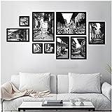 Set von 9 Bilderrahmen Collage Schwarz-Weiß-alte Bild Retro-Wohnzimmer Malerei ( Farbe : Schwarz )