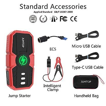 JUMTOP arrancador bateria Coche 12800mAh 1500A Pico arrancador Coche Arranque bateria Coche (Motor 8,0L Gas / 6,0L diésel) Jump Starter-Batería automática Cargador teléfono bancario USB LED