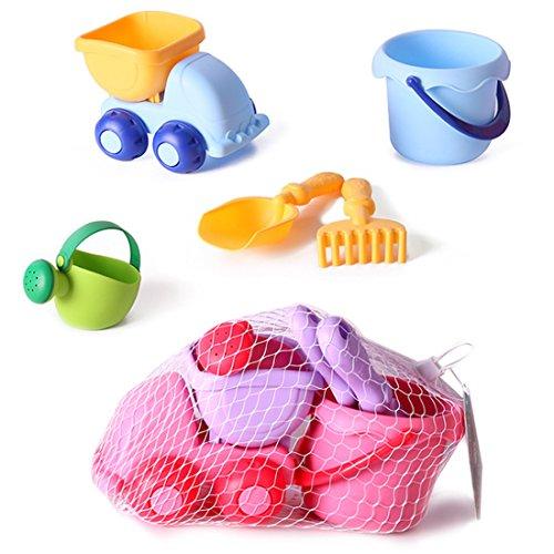 YAVSO Sandspielzeug, 5er Sandkasten Spielzeug Strandspielzeug mit Sandform, Eimer, Schaufel für Mädchen Junge Kinder Kleinkind Baby
