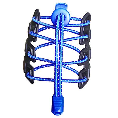 Canwn [2 paia] lacci per scarpe elastici riflettenti e autobloccanti blu