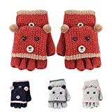 ENNHUO Mädchen Jungen Winter Warme Handschuhe Verdicken Hot Outwear Handschuhe für Kinder Handschuhe für Kleinkind Baby Kinder Fingerlose Baby Handschuhe, rot