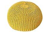 DuNord Design Hocker Sitzkissen Strickhocker Pouf Burley 50cm gelb Strick Beistelltisch Ablage