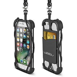 ARMRA Universal Telefon Hüllen [Geschenk Idee], Handy Silikon Case mit Ausweishüllen Gurt Lanyard für iPhone X 8 7 6 Plus 5 SE IPod Touch Samsung Galaxy S9 S8 S7 S6 Edge A5 A3 J7 J5 (Schwarz)