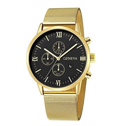 JiaMeng Reloj de Cuarzo Reloj de Pulsera de Cuarzo Anal¨gico Deportivo de Acero Inoxidable de los Hombres de Moda con Calendario(Multicolor9)