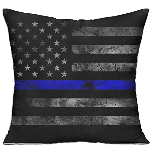 Doormat-bag Throw Pillow Cases Cushion Protector for Sofa Bedroom Car - American Flag Thin Blue Line Pillow Covers - Inserts Are Not Included - 18
