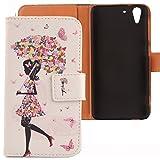 Lankashi PU Flip Leder Tasche Hülle Case Cover Schutz Handy Etui Skin Für HTC Desire Eye Umbrella Girl Design