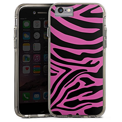 Apple iPhone 7 Bumper Hülle Bumper Case Glitzer Hülle Pink Muster Zebra Trend Bumper Case transparent grau