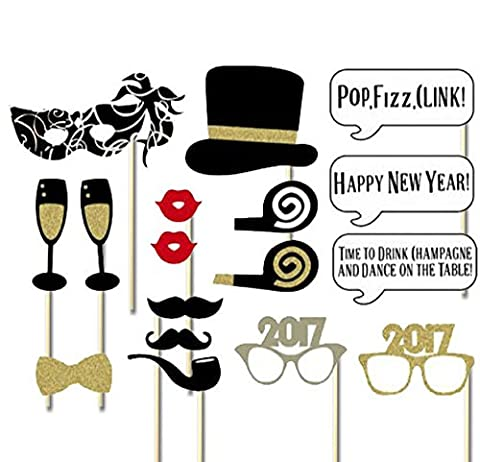 Veewon 2017 Nouvelle Année Party Photo Booth Props 18pcs Bricolage Kit Réveillon Saint-Eve Photobooth Carte Masques Moustache Chapeau Lips Rouge Lunettes