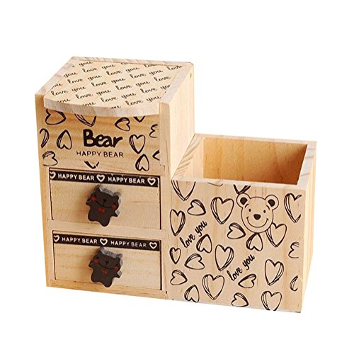 Jungen portapenne in legno da scrivania con cassetti 16.5x 9.5x 13.5cm