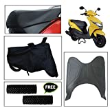 #4: Vheelocity Combo of 72599 Black Motorcycle Body and Seat Cover with Foot Mat and Free Acupressure Grip for Honda Dio Scooter