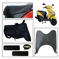 Vheelocity Combo of 72599 Black Motorcycle Body and Seat Cover with Foot Mat and Free Acupressure Grip for Honda Dio Scooter
