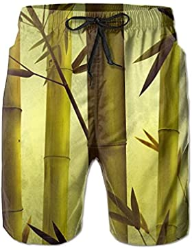 Autumn Season Bamboo Forest Men's/Boys Casual Quick-Drying Bath Suits Elastic Waist Beach Pants with Pockets