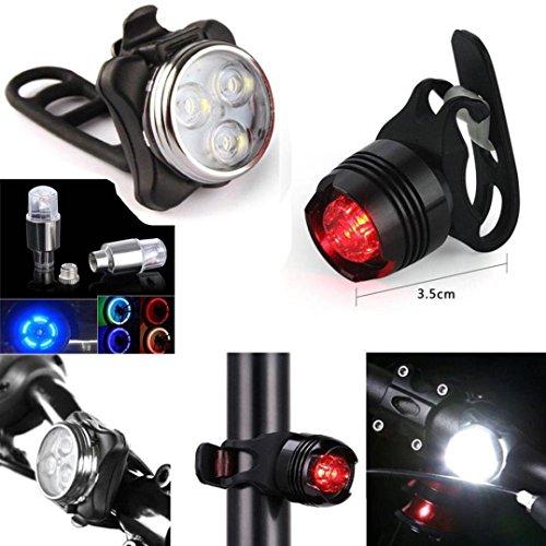 LED Fahrradbeleuchtung Set, USB Wiederaufladbare Wasserdicht, 650mAh Akku USB Aufladbare Fahrradlichter, LED Frontlichter Frontlich und Rücklicht - 3 Licht-Modi für Mountainbiken, Rucksack, Helm, Jacke, Camping
