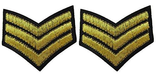 2 x Gold Sarge Sergeant Streifen Militär Armee Ranking zum Aufbügeln Aufnäher gestickte Abzeichen Applikation Motiv Patch von fat-catz-copy-catz (Gestickte Abzeichen)