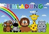JamOnMedia 6-er Kartenset mit süßen, lustigen Tieren aus dem Zoo (Affe, Zebra, Löwe, Giraffe, Hippo) Kindergeburtstag-Einladungskarten für die Geburtstags-Party