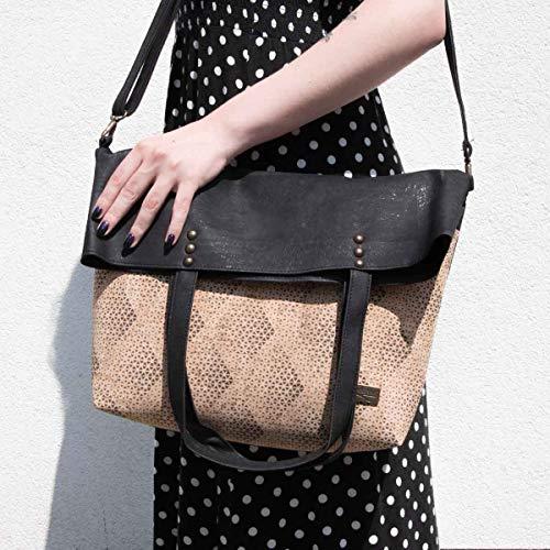 CorkLane Damen Fold over bag Korkleder vegan Falt-Handtasche Tasche Kork schwarz - 6