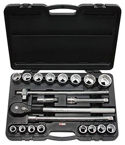 """KS Tools 911.0751 3/4"""""""" STECKSCHLÜSSELSATZ 21tlg. Zollmaße, 3 Verlänger., Ratsche, Koffer"""