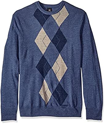 Dockers Men's Big and Tall Long Sleeve Soft Acrylic Multi Color Placement Argyle W/ Raker-Crew, Ventana Blue Marl, 3X-Large