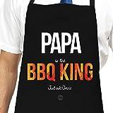 Personalizado BBQ King Grandad delantal, delantal para barbacoa de Papa, Navidad Regalo para Papa, Negro barbacoa Kepster delantal
