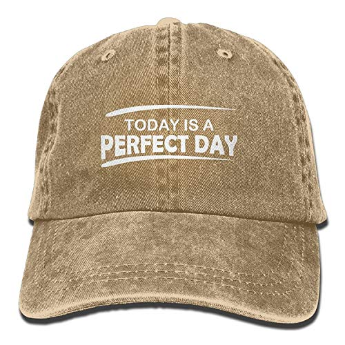 Basecap Hip-Hop Cap Kappe Unisex Snapback Men Women Today is A Perfect Day Denim Fabric Baseball Hat Adjustable Lightweight Breathable Soft Dad Hat - Deere John 2t