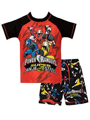 Power Rangers Bañador de Dos Piezas para niño Ninja Steel Roja 9-10 Años