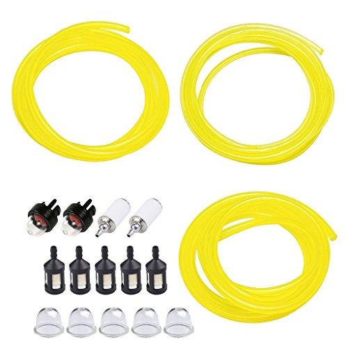 D DOLITY Kraftstoff Pumpenschläuche Set, inkl, 5 Füße 3 Größen Kraftstoffleitungen + 5 Stück Zündkerze + 2 Stück Snap in Zündkerze 5pcs Kraftstofffilter (schwarz) + 2ST Kraftstofffilter (weiß)