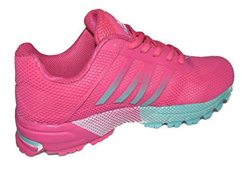 BTS prima classe 2 Speed Racing Racing Trail Scarpe Donna Scarpe, colore: rosa/tuekis, misure taglie UK 3 4 5 6 7 8 Multicolour - Blau/ Gruen/ Orange